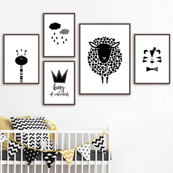 Sheep Giraffe Tiger Crown Wall Art Canvas Pintura nórdicos cartazes e cópias preto branco da parede Pictures para o bebê Crianças Room Decor