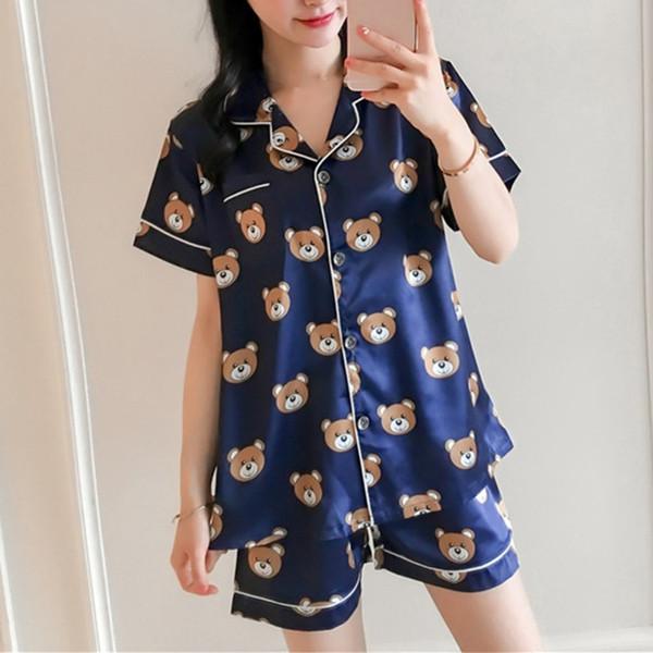 Summer Short Sleeve Ice Silk Pajamas Two Pieces Set Sleepwear Nightwear for Women Cute Bear Loose Thin Home Service Suit