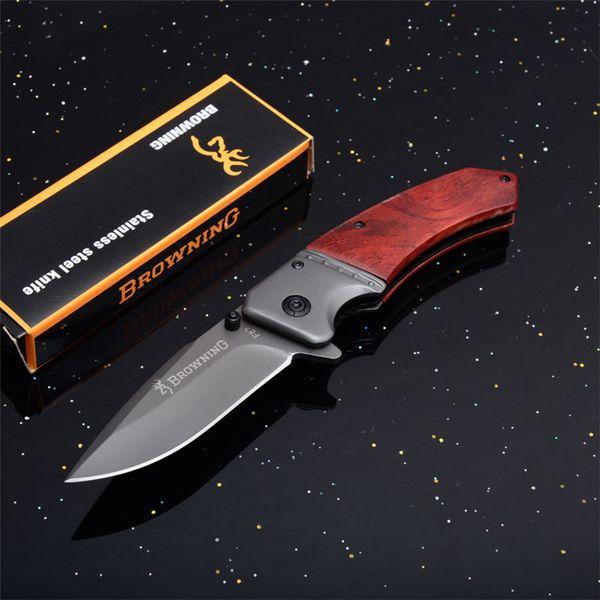 Browning F82 Cuchillo plegable plegable táctico 440 Titanio Plating Blade Mango de madera Al aire libre que acampa Cuchillos de caza EDC Herramientas P617R Q
