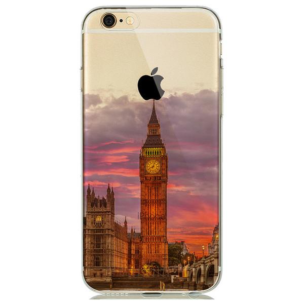 Landscape New York Effiel Tower Paris Sunset Case Cover for iPhone 7 8 Plus 6 6s 5s SE coque London Big Ben Case Empire Building