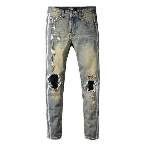 Neue Amiri Herren Jeans Mode Herren High Street Motorrad Amiri Hosen Lochbrechende hochwertige klassische Miri Jeans 29-40 Taillenhose