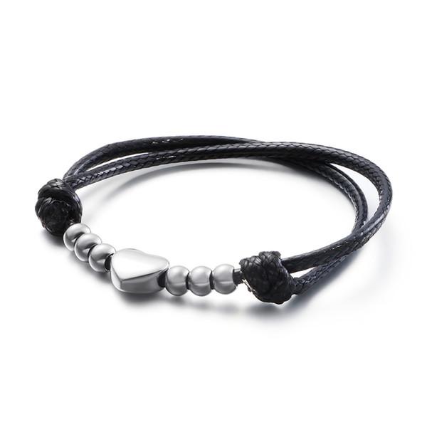 Hip-hop Black Leather Cook Girl Stainless Steel Heart Pattern Adjustable Trendy Women Chain Bracelet
