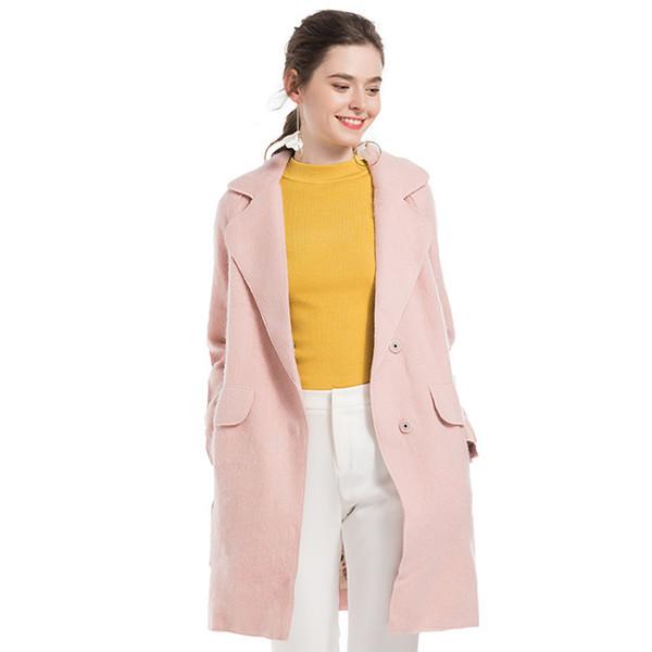 HANZANGL Осень Зима женщины пальто куртки офис Леди сплошной цвет шерстяное пальто розовый верблюд женский шерстяное пальто верхняя одежда
