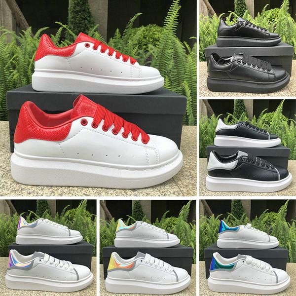 Luxury Fashion Designer Shoes 3M Reflective Women Men Leather Platform Casual Shoe Triple White Black Red Navy Mens Flat Chaussures 36-44