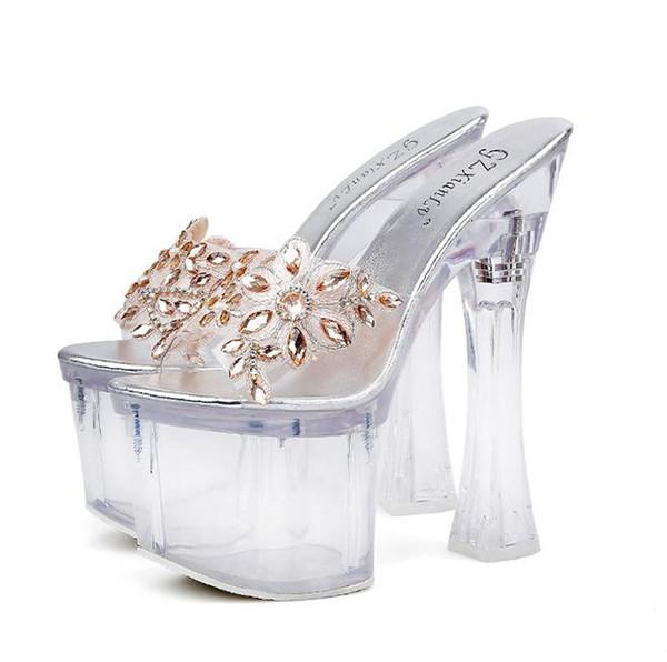 18cm Luxury gold crystal flower platform ultra high heels sandals bride designer shoes size 34 to 39