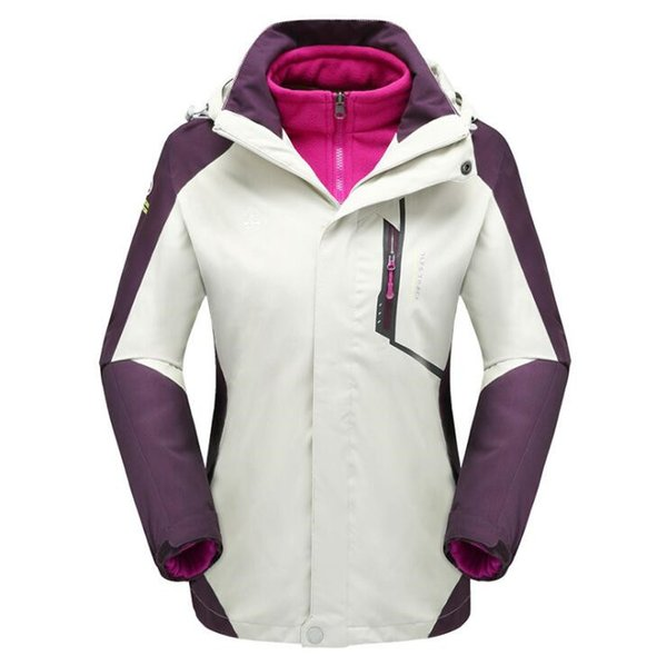 Winter outdoor jacket custom logo three-in-one two-piece detachable plus velvet thick waterproof mountaineering