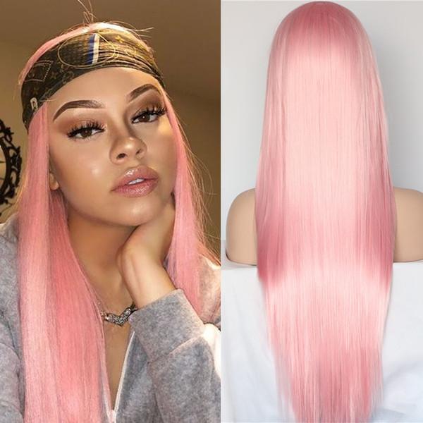 Cheveux teints en rose 13x4 perruque naturelle Hairline avant de dentelle de cheveux synthétiques dentelle perruques chaleur fibre résistant perruque cheveux pour cosplay afro-américaine