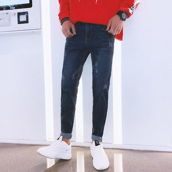 Men Fashion Hiphop Skinny Jeans Streetwear Racer Biker ripped jeans for men Solid Color Stretch Hombre Slim Denim Pants