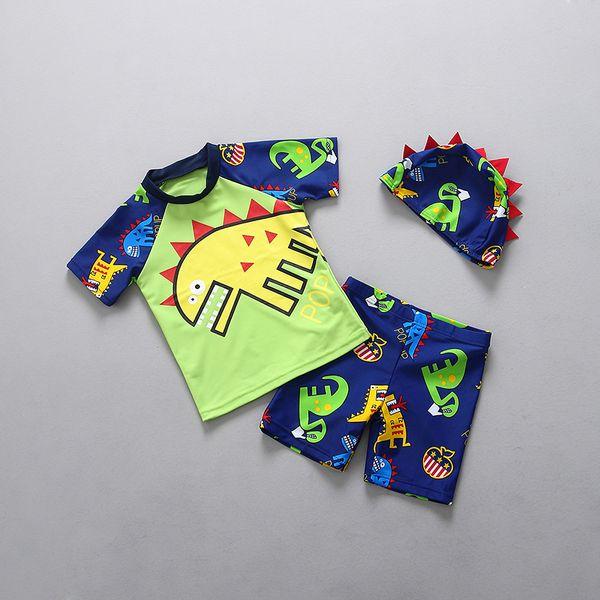 New sun protective child swimsuit boy dinosaur split boy small child swimsuit bathing swim hot spring bathing suit tide