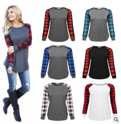 S-5XL Plus Size Plaid Panel Raglan Long Sleeve T-shirt Women Ladies Spring Autumn Winter Patchwork Sweatshirt Casual Blouse Shirt Top Tees