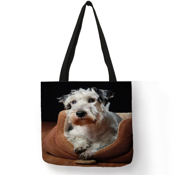 Creative Czech Terrier Print Women Men Handbag Outdoor Useful Storage Tote Bags Linen Material Lightweight Shopping Bag
