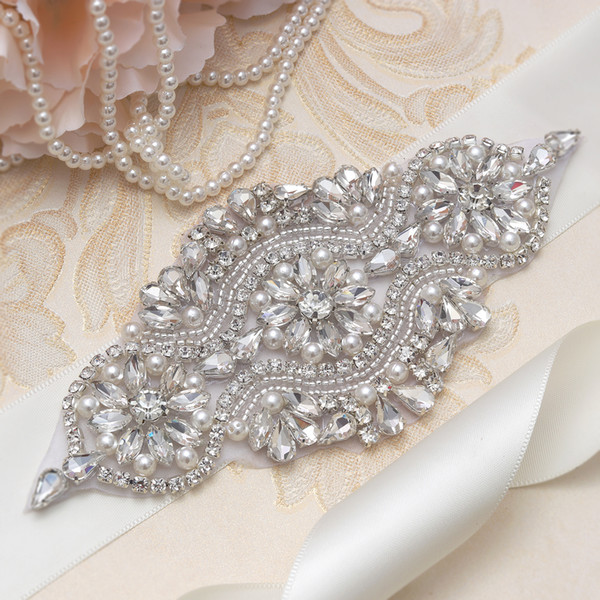 MissRDress Artesanal de Noiva Cinto de Cinto de Prata Cinto de Strass Faixa Sash Para O Vestido de Casamento YS851