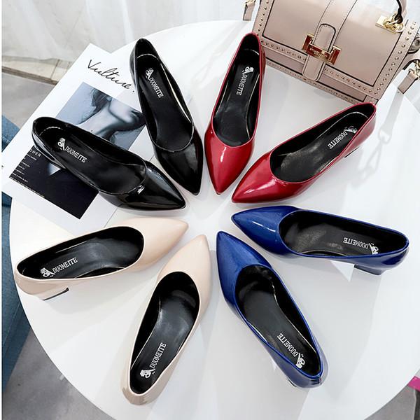 Bahar rugan kırmızı alt temel kadın pompaları 5 cm Kare Yüksek Topuklu sivri burun Bayanlar Ayakkabı Mavi Bej Boyutu 34 40