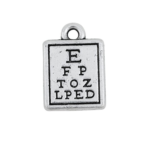 Fishhook Wholesale 10 pcs Antique Silver Plated Letters Engraved Eye Chart Alphabet on Square Charms Jewlery