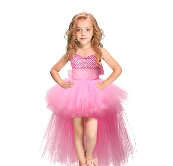 Tutu Pink Tulle Girl Dress Faldas Niños Princesa Hecho a mano de malla TUTU Vestidos Con Cintas Arco Para la fiesta de boda de cumpleaños