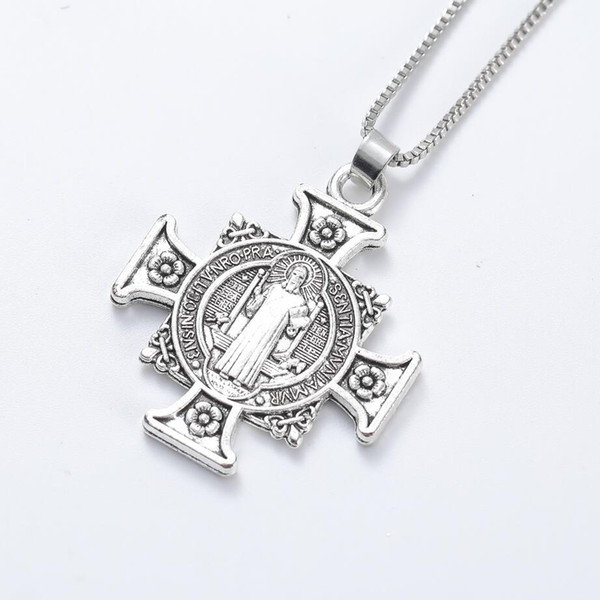 ca0eb32a347 Quis Et Dues Saint Michael Cross Silver Medal Antique Silver Pendant  Necklaces N1729 24inches Traditional Large