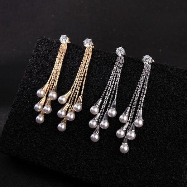 BALANBIU Exquisite Zircon Long Chain Acrylic Pearl Tassel Drop Earring For Women Two-tone Alloy Dangle Earring Fashion Accessory