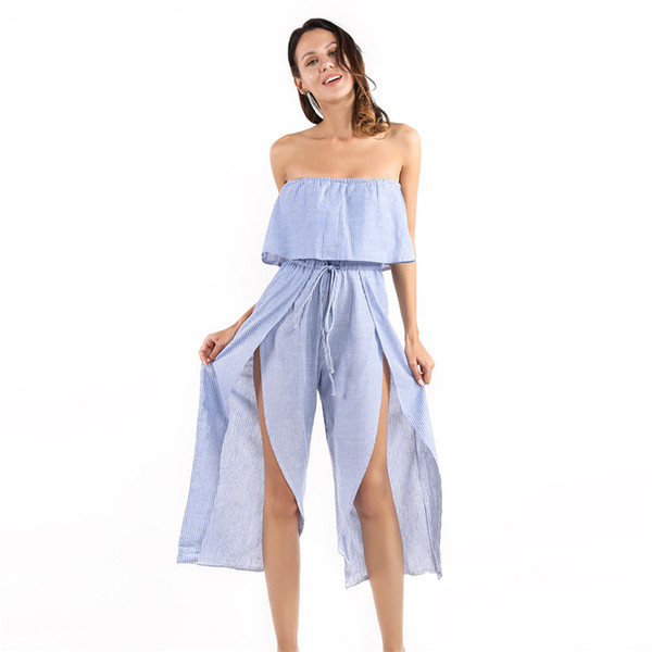 2019 New Degin Rompers Womens Jumpsuit Summer Sexy Slash Neck Off Shoulder Ruffles Playsuit Casual Wide Leg Pants Overalls