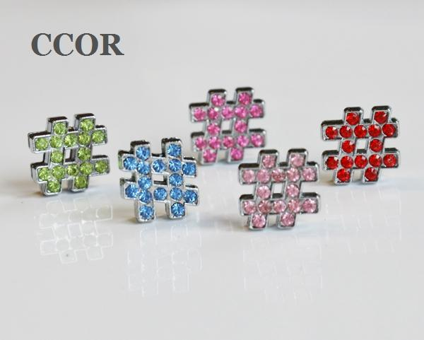 10pcs 8MM Full Rhinestone # Symbol Slide Charms Beads Fit 8mm Pet Collar Belts Phone Strips Bracelets