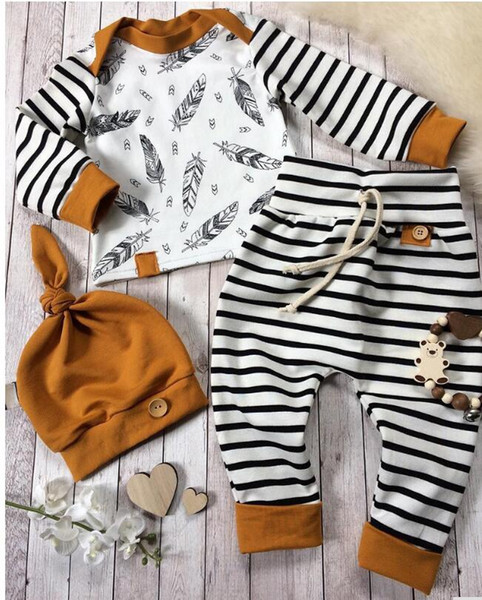 top popular Baby Newborn Baby Boy Girl Clothes Feather T shirt Tops Striped Pants Clothes Outfits 3pcs Set brown Z70 2020