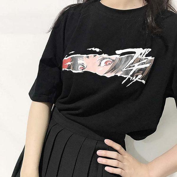 2018 Yaz Kore Ulzzang Kadın T-shirt Punk Japon Harajuku Karikatür Boy Kadın T Shirt Gotik Gevşek Sokak 0520 J190427 Tops