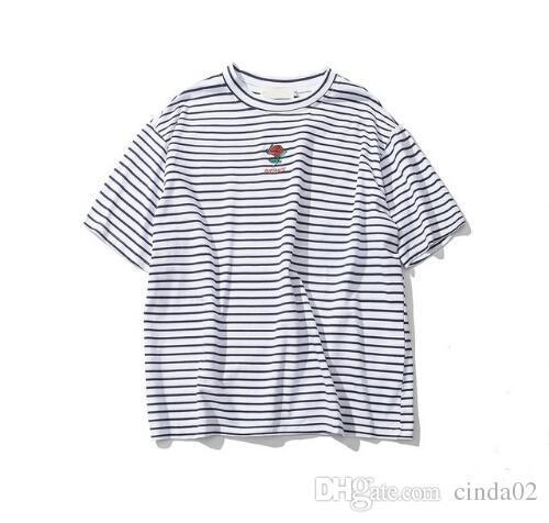 Роза вышивка полосатый мужская футболка с коротким рукавом лето Привет-улица негабаритных хип-хоп футболка хлопок футболки