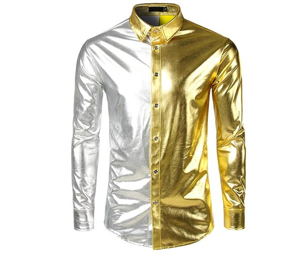 Foreign Trade Autumn Winter Club Style Shirts Fashion Bright Long Sleeved Shirts to Coloured Hot Shirts B5183