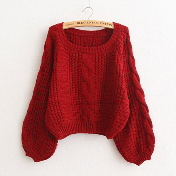 Autumn and Winter Korean Version of Sweet Flax Bat Lantern Sleeve Short Sweater Pullover Turtleneck High Waist Loose Female Coat