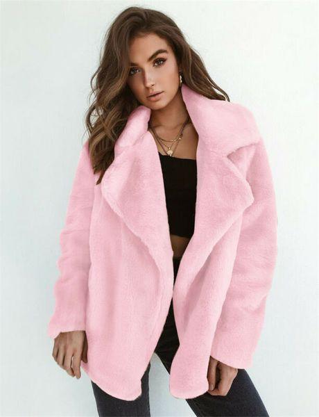 2019 new fashion solid coats women winter warm outwear ladies teddy bear fluffy long sleeve coat  loose coats female