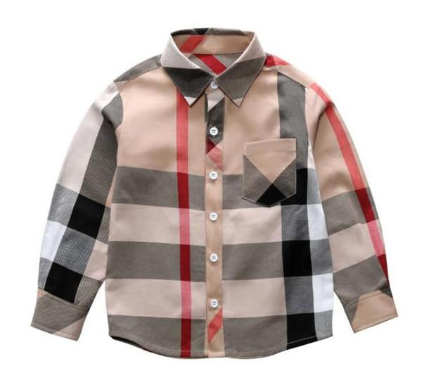 3-8 Anos Menino Camisa Roupas Outono Crianças designer de manga longa camiseta xadrez padrão de marca lapela Moda Algodão clássico Xadrez Tops Meninos Camisa