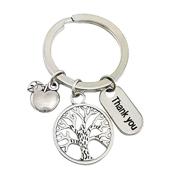 New Style Ancient Silver Thank You Letter Apple Tree Creative Pendant Keychain Keyring Popular Hot Good Friends Women Men Jewelry Best Gifts