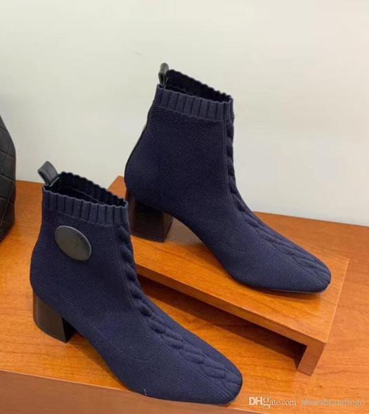 2019 fw19 spring herbst damen ECHTES LEDER mit dunkelblauem Stretchstrick Sockenstiefeletten aus Stoff ziehen High Heels mit quadratischen Zehen an