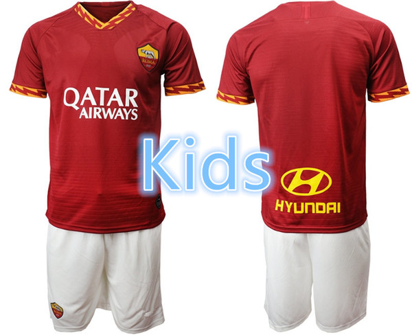19 20 AS roma Kids soccer jersey home set DZEKO DE ROSSI PEROTTI 2019 2020 Rome football shirt ZANIOLO PELLEGRINI set EPACKET