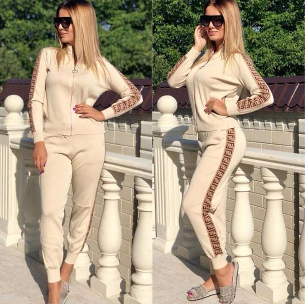 Les designers de mode Survêtement Sport FFENDI Femmes Survêtement Sport Sweat Casual femmes Zipper Veste trois bandes de-XXL