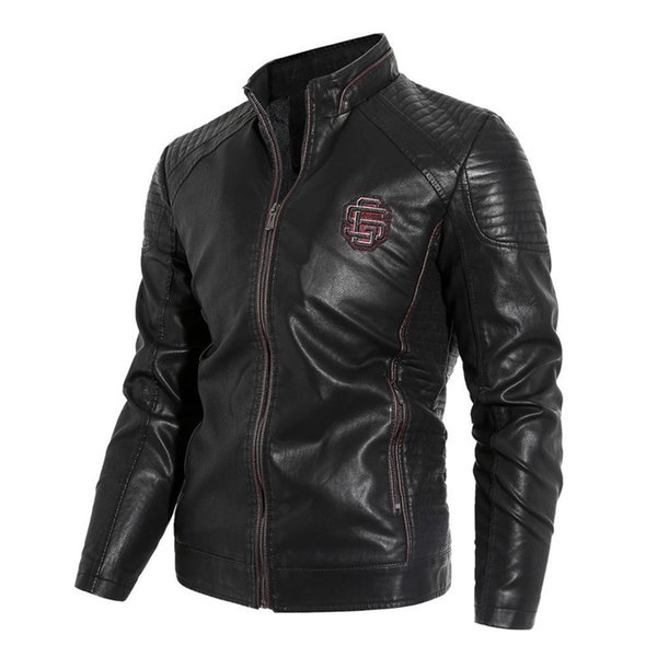 2020 Outono Inverno Pu Leather Jackets Brasão Men Fleece suporte Quente Collar Zipper de Slim Hot Venda Nova Marca Faux Leather Jacket Men l