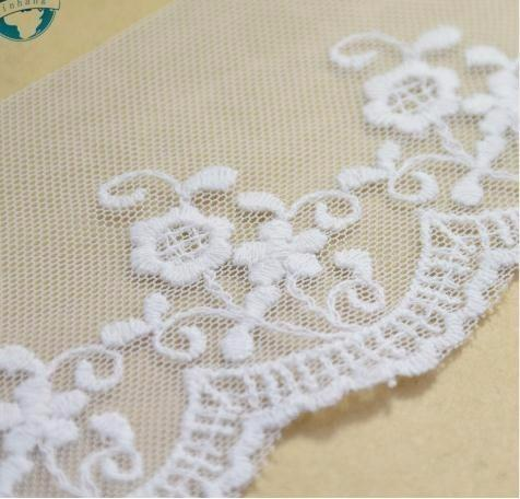 6cm width white cotton embroidery lace french lace ribbon guipure diy trims warp knitting sewing Accessories