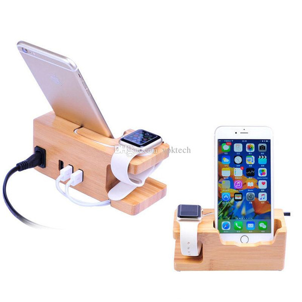 DHL Natural Bamboo cell phone Charger mounts holders Platform With USB Ports fast charging for Apple Iwatch Samsung Huawei Smart Phone