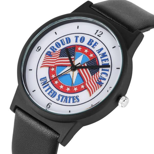 Erkek Izle Lüks Birleşik Devletleri Bayrağı Gururlu Olmak için Amerikan Kuvars Beş Köşeli Yıldız Moda Saat Erkek Kol Saati Relojes Hombre
