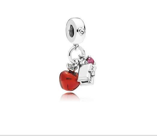 Se adapta a Pandora Pulseras 30 unids Navidad Manzana Roja Colgante de plata Granos de los encantos de los encantos al por mayor Diy Collar Europeo Pulsera de cadena de la serpiente