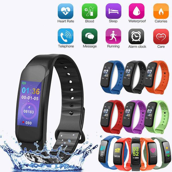 C1 plus Smart Bracelet fitness bracelet Dynamics Color Screen Waterproof Activity Heart Rate Monitor Blood Pressure Measurement