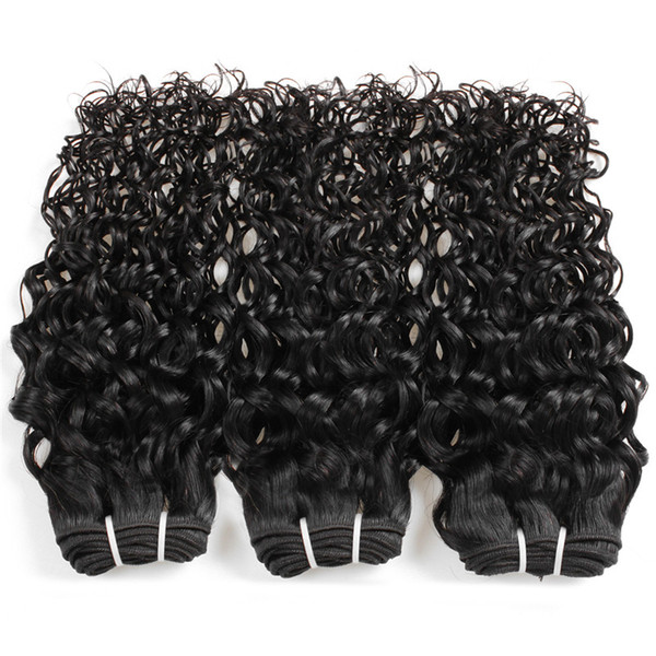 Human Remy Hair Bundles With Closure Tissage Brazilian Water Wave Virgin Hair Extension Vendors Cuticle Aligned 3 Bundles /lot 8-28 Inches
