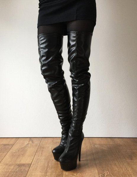 Black Thigh High Boots Women 15Cm Spike Heels Zipper Platform 5Cm Custom Sexy Zipper Shoes Women Designers Ladies Boots