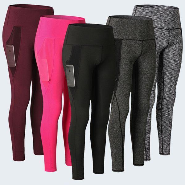 Женщины фитнес брюки высокой талией спортивные леггинсы сетки карман йога бесшовные колготки тренажерный зал высокой упругой работает тренировки леггинсы mujer
