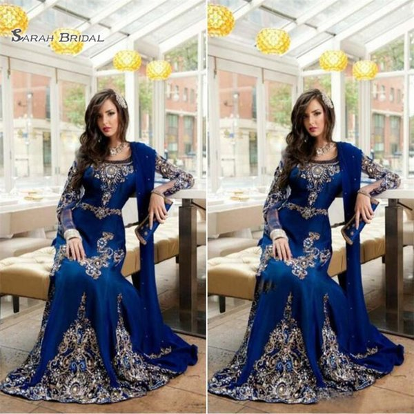 2019 Royal Blue Luxury Crystal Muslim Arabic Evening Dresses With Applique Lace Long Formal Prom Party Gowns