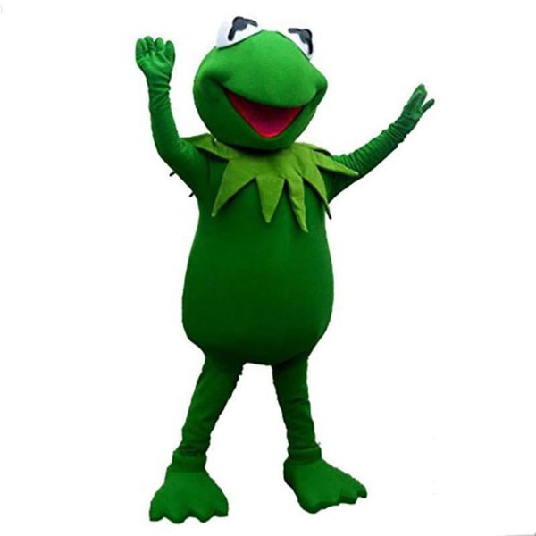 2019 Discount factory sale Kermit Frog Mascot Costume free shipping Halloween Cartoon for birthday party funning dress