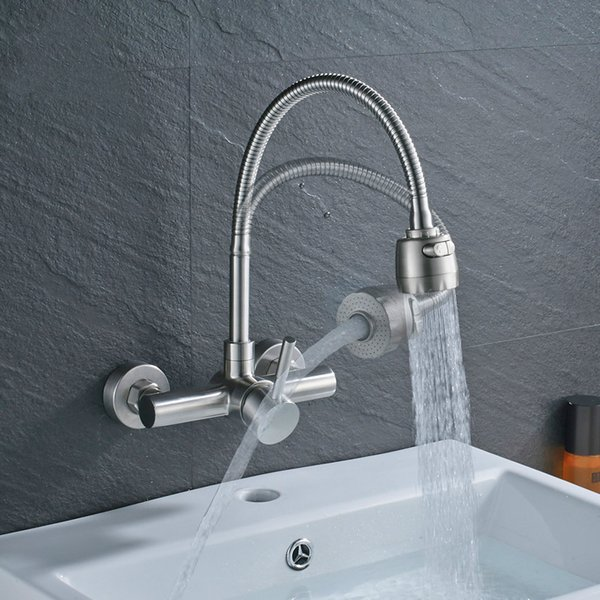 Single Handle Flexible Hose Kitchen Faucet Wall Mounted 360 Degree Rotate Bathroom Kitchen Mixers Hot and Cold Tap