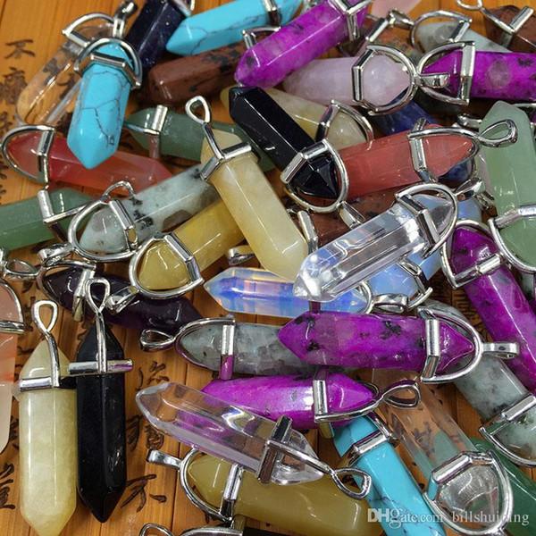 Bullet Şekli Doğal Taş kolye Gerçek Ametist Kadınlar Erkekler Chakra Gem Taşlar Kuvars Kristal kolye Takı Bulguları Bileşenleri için