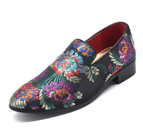New Handmade Floral Print Men Loafers Fashion Party Banquet Men Dress Shoes Designer Smoking Slipper Men Flats 37-48