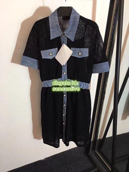 Frauen Marke Shirt Empire Kleider Stricken Nähen Denim Die High-End-Custom Shirt Kleid Knielangen Lässige Marke Knit Runway Kleid 2019