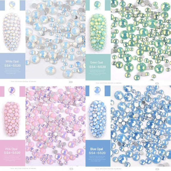 1 Bag(=350pcs) Crystals of Opal Rhinestones for Nails 4 Colors Mix Sizes Glass Opal Nail Rhinestones 3D Nail Art Decorations 024